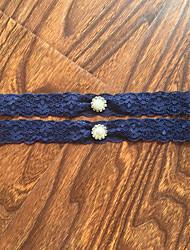 Strumpfband Stretch-Satin Spitze Spitze Strass Blau