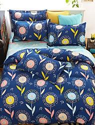 bedtoppings couette couverture couette couette 4pcs définir la taille de reine plat drap taie foncé impressions bleu feuille microfibre