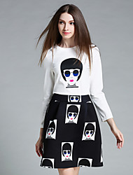 AINIER  Women's Going out Street chic Spring Set SkirtPrint Round Neck Long Sleeve White