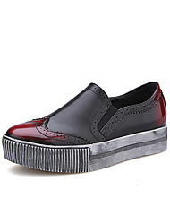 Women's Flats Fall Comfort / Round Toe / Closed Toe Leatherette Casual Flat Heel Gore Silver / Burgundy Walking