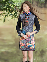 Our Story Women's Going out Chinoiserie Sheath DressFloral Crew Neck Above Knee Long Sleeve Black Cotton