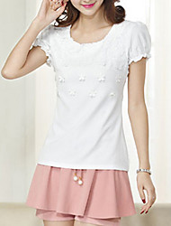 Women's Solid Pink / White / Purple Blouse,Round Neck Short Sleeve