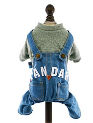 Dog Clothes/Jumpsuit Denim Jacket/Jeans Jacket Yellow Pink Dark Blue Light Blue Dog Clothes Winter Spring/Fall Jeans Fashion Cowboy