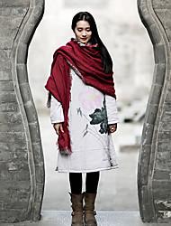 Manteau Rembourré Femme,Long Chinoiserie Décontracté / Quotidien Fleur-Lin Coton Manches Longues Gris Mao