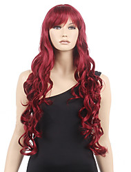 Women Cheap Synthetic Wig High Quality Fashion Fluffy Fancy Wine Red Long Full Wig Wavy Hair Curl Cosplay Wigs