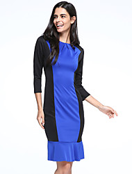 Women's Work Sexy / Simple Trumpet/Mermaid Dress,Patchwork Round Neck Knee-length ¾ Sleeve Blue / White Polyester Summer
