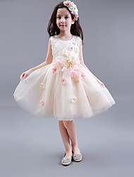 A-Line Knee Length Flower Girl Dress - Cotton Satin Tulle Sleeveless Jewel Neck with Flower