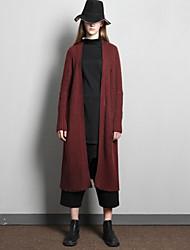 rizhuo de las mujeres ocasionales / diaria simple de lana larga cardigansolid v cuello manga larga / acrílico / nylon primavera / otoño