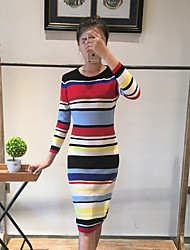 Boutique S  Going out Cute Sheath DressStriped Round Neck Knee-length Long Sleeve Red Wool / Polyester Spring
