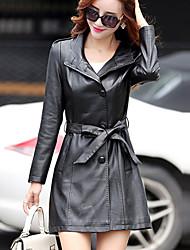 Женский На каждый день / Большие размеры Однотонный Кожаные куртки Воротник-стойка,Уличный стиль Осень / ЗимаКрасный / Черный /
