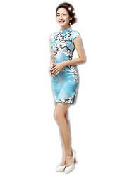 One-Piece Short Sleeve Medium Length Sky blue Lolita Dress Polyester