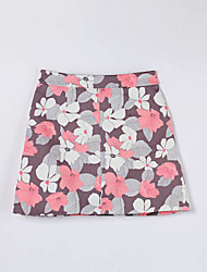 Women's Floral Blue / Pink SkirtsSimple Above Knee