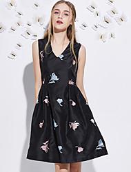 j&d women'scute une ligne dressembroidered v cou genou longueur manches polyester noir été de grande hauteur moyenne inélastique