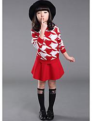 Menina de Conjunto,Casual Listrado Lã Inverno / Primavera Rosa / Vermelho