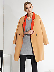 Women's Going out Simple CoatSolid Peaked Lapel Long Sleeve Winter Orange Wool Thick