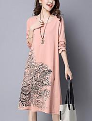 Women's Casual/Daily Simple Loose DressPrint Knee-length Long Sleeve Brown / Orange Cotton / Linen Fall / Winter