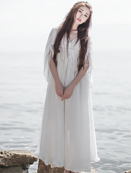 Ample Robe Femme Décontracté / Quotidien simple / Chinoiserie,Couleur Pleine Col en V Maxi Manches ¾ Blanc Polyester Printemps / Eté