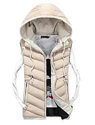 Men's Regular Padded Vest Coat,Polyester Solid Sleeveless Hoodie k253