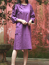 Cynthia Women's Casual/Daily Chinoiserie Tunic DressSolid Round Neck Knee-length  Sleeve Purple Linen Spring