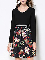 Women's Plus Size /Daily Street chic Sheath DressPrint Round Neck Above Knee Long Sleeve  Polyester Spring / Fall