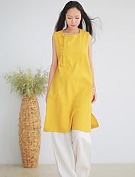 Ramie Cotton Women's Vintage Tunic DressSolid Round Neck Above Knee Sleeveless Yellow