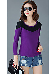 Women's Going out Simple Fall T-shirtColor Block Round Neck Long Sleeve Multi-color Cotton Medium
