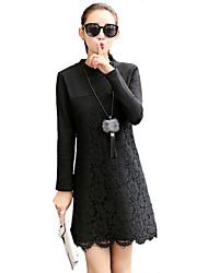 Mujer Encaje Vestido Noche / Casual/Diario Chic de Calle,Retazos Escote Chino Sobre la rodilla Manga Larga Negro Algodón / PoliésterOtoño