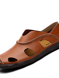 Men's Loafers & Slip-Ons Comfort Cowhide / Leather Casual Flat Heel Slip-on Black / Brown / Yellow Others
