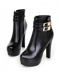 Для женщин Ботинки Армейские ботинки Полиуретан Зима Армейские ботинки Пряжки На толстом каблуке Белый Черный Желтый 4,5 - 7 см