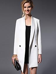 Newbefore Women's Work Simple CoatSolid Shawl Lapel Long Sleeve Fall / Winter White / Black