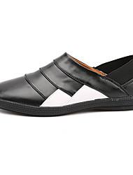 Herren-Sneaker-Lässig-Leder-Flacher Absatz-Komfort-Schwarz Braun Weiß Schwarz und Weiss