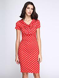 Damen Kleid  -  Schleife Knielang Nylon Kurzarm V-Ausschnitt