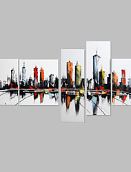 IARTS City View Landscape Paintings Canvas Wall Art 5 Panels Artwork Handmade