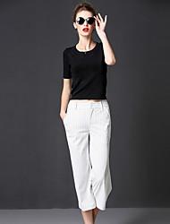 rayé blanc large pantssimple jambe des femmes frmz