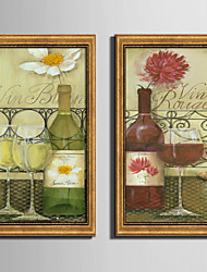 E-HOME® Framed Canvas Art, Wine Framed Canvas Print Set Of 2