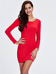 Tricot Robe Femme Sortie simple,Couleur Pleine Col Arrondi Mini Manches Longues Rouge / Noir Coton Automne Taille Normale Elastique Moyen
