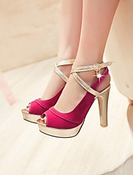 Women's Sandals Summer Platform PU Casual Chunky Heel Pearl Buckle Blue Fuchsia Others