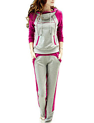 Women's High Neck Hooded Sweatershirt Suit