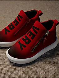 Unisex Boots Fall / Winter Comfort Leather Casual Flat Heel Zipper Black / Brown / Red Walking