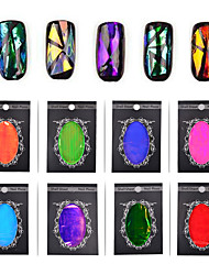 1pcs Broken Glass Foils Finger Nail Art Mirror Stickers Glitter Stencil Decal