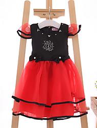 Vestido Chica de-Casual/Diario-Un Color-Algodón / Poliéster-Verano-Rojo