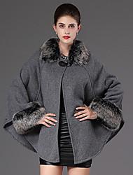 Mulheres Japonas Casual Moda de Rua Inverno,Sólido Preto / Cinza Algodão Colarinho Chinês-Manga Longa Grossa