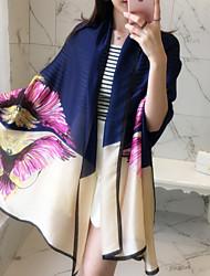 Vintage Multicolored Lips Phoenix Printing Beach Towel Curling Satin Silk Scarf Oversized Travel  Shawl Scarves