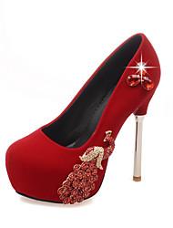 Feminino-Saltos-Conforto Sapatos clube-Salto Agulha-Preto Vermelho-Flanelado-Casamento Social Festas & Noite