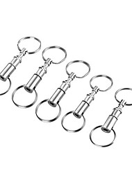 FURA Outdoor Iron Alloy Detachable Double Ring Keyrings - Silver (5PCS)-Snap Lock Pull-apart Keychain