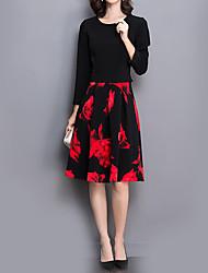 Gaine Robe Femme Grandes Tailles Sophistiqué,Fleur Col Arrondi Mi-long Manches Longues Noir Polyester Automne Taille Haute Micro-élastique