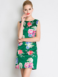 MASA  Women's Going out Chinoiserie Sheath DressFloral Round Neck Above Knee Sleeveless Green Polyester