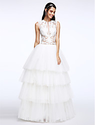 A-line Wedding Dress Floor-length Jewel Tulle with Appliques / Button / Tiered