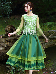 Our Story Women's Embroidered Green SkirtsVintage Maxi