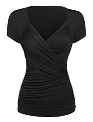 Damen Solide Niedlich Ausgehen / Lässig/Alltäglich T-shirt,V-Ausschnitt Sommer Kurzarm Schwarz Polyester / Elasthan Dünn
